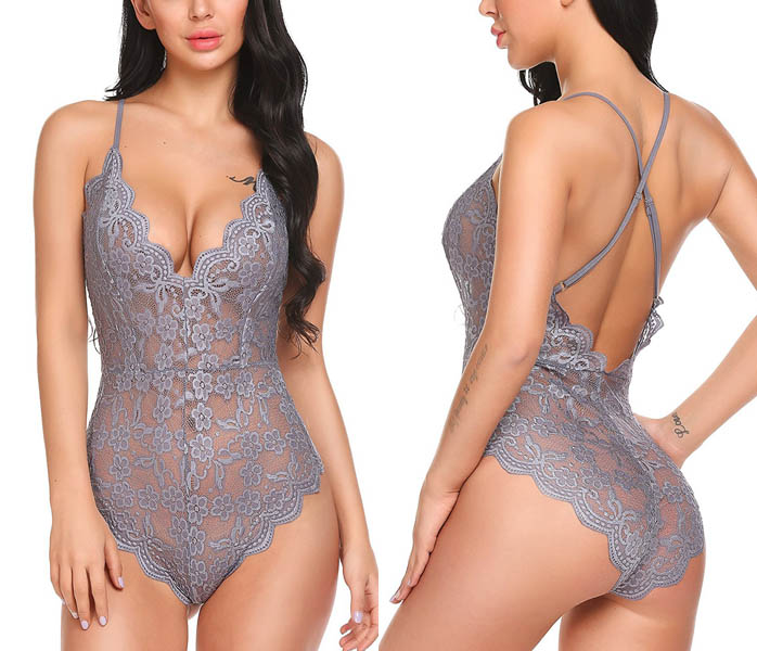 Sexy Lace Teddy Grey-Silver 10 4002-S
