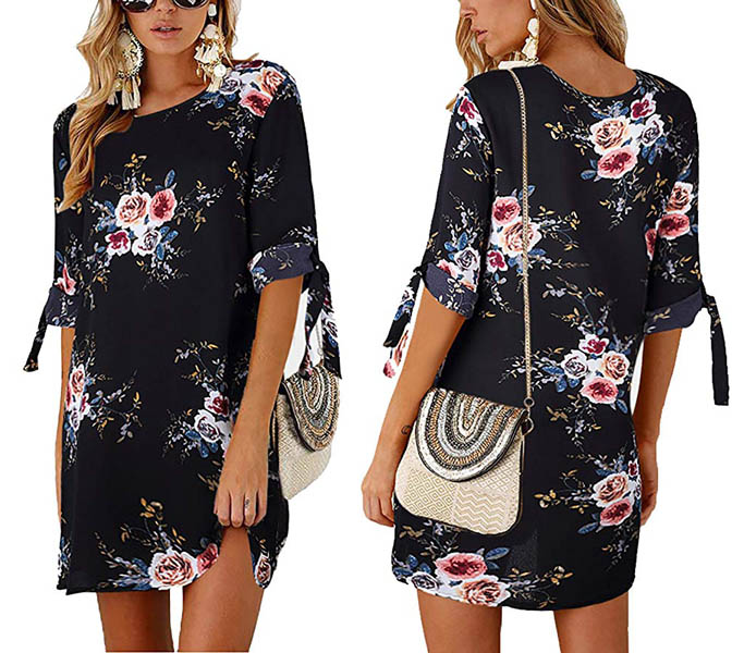 Floral Printed Casual Mini Dress Black 7034-NW