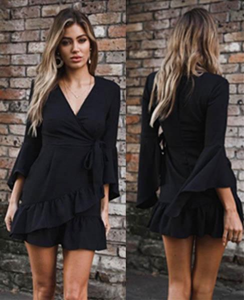 Long Sleeves Dress Black 10 7041-BK