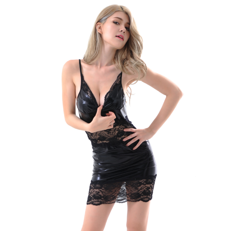 Faux Leather Lace Dress Black MY 891915
