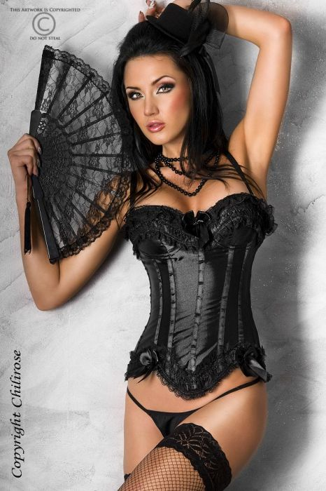 Chilirose Black Satin Corset with String CR-3068