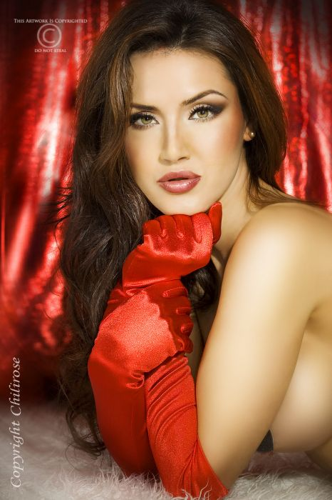 Chilirose Satin Gloves red