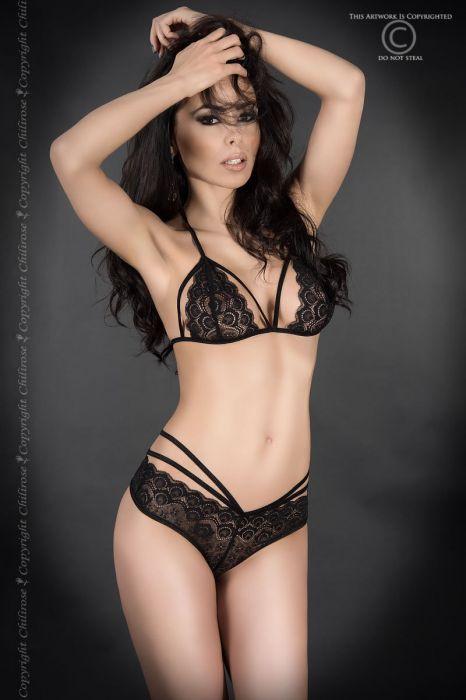 Chilirose Black Lace Set Bra and Panties