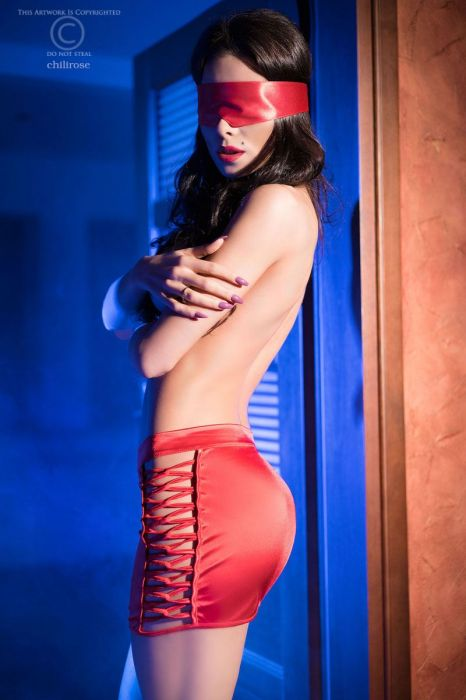Chilirose Red skirt and satin mask