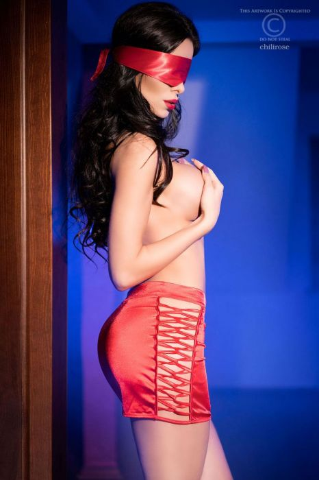 Chilirose Red skirt and satin mask CR-4190-Red