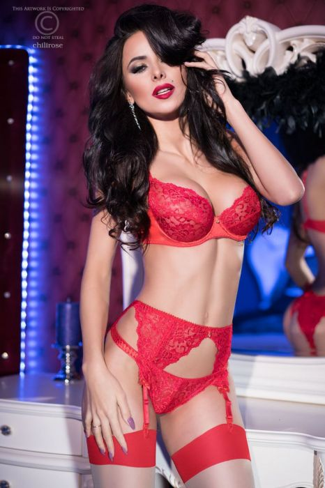 Chilirose Red lace set CR-4192-Red