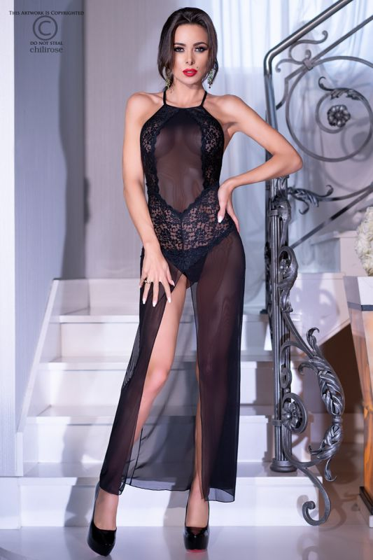 Chilirose Black Long Gown and String CR-4269
