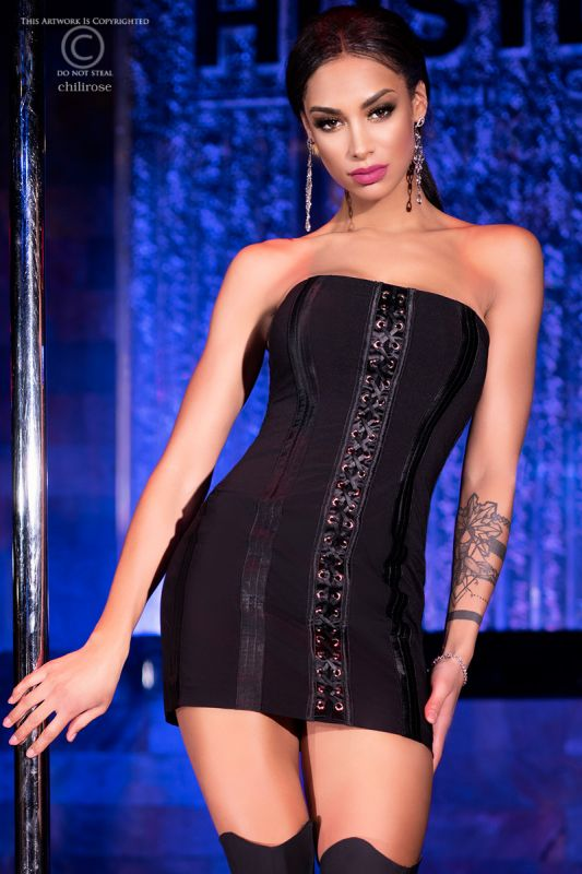 Chilirose Black Mini Dress