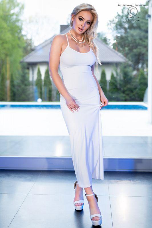 Chilirose White Long Dress