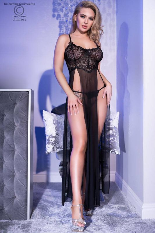 Chilirose Long Gown and String CR-4371-Black