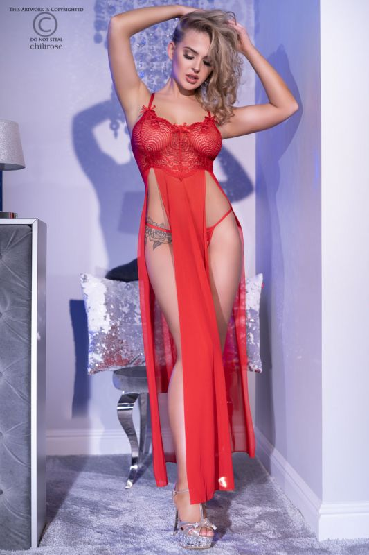 Chilirose Long Gown and String Red