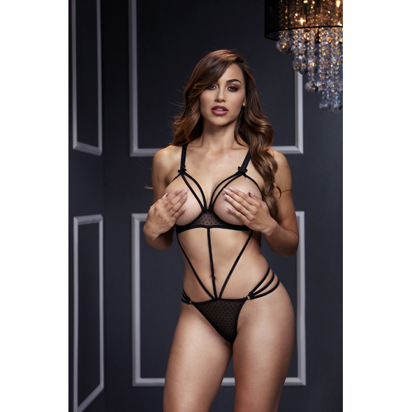 Baci - Black Strappy Bodysuit & Open Cup Bra