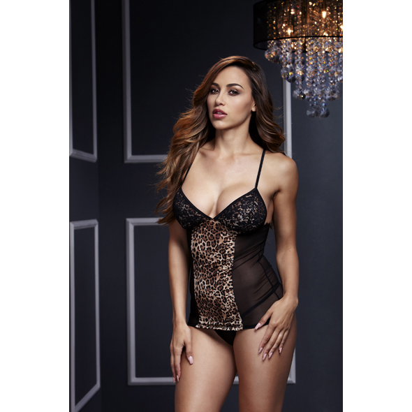 Baci - Leopard Basque & Garter Stays