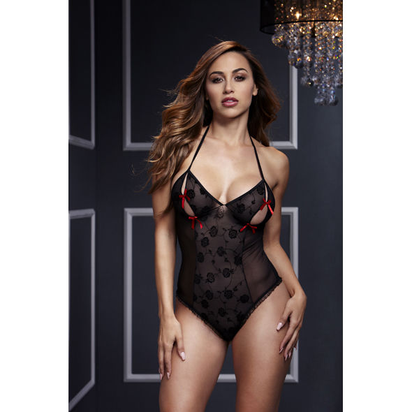Baci - Black Lace Bodysuit & Bra Slits Red Bow