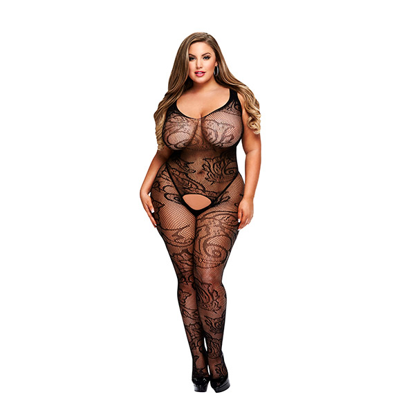 Baci - Crotchless Jacquard Bodystocking Queen Size