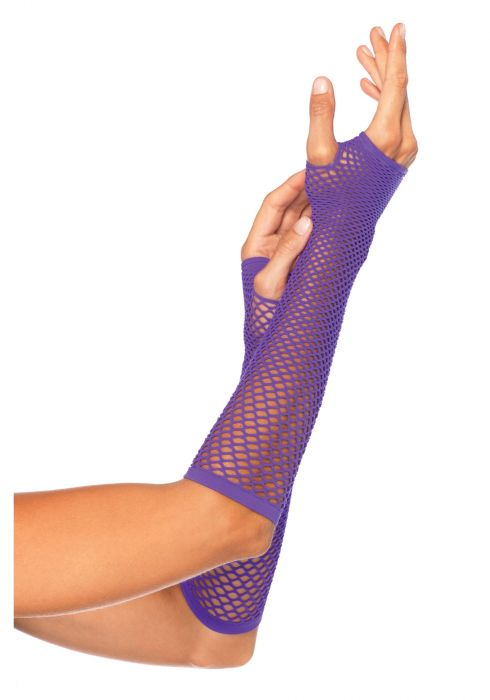 Leg Avenue Triangle Net Fingerless Gloves Neon Purple
