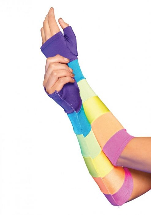 Leg Avenue Rainbow Fingerless Gloves LG2683