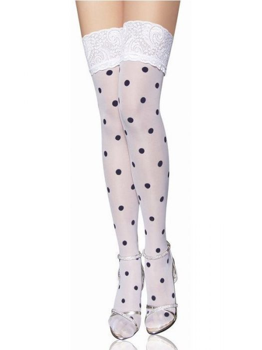 Rockabilly Dotted Stockings White MMB-2098