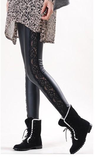 Faux Leather Patchwork Sheer Lace Leggings MY K064