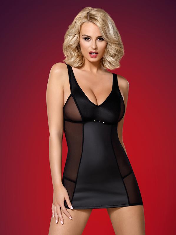 Obsessive 823-DRE-1 dress and thong black