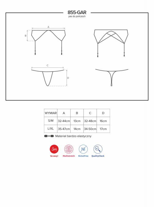Obsessive 855-GAR-1 garter belt & thong black OB8327
