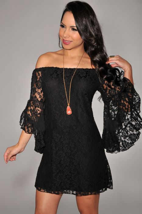 Long Sleeve Lace Black Dress SC 9413