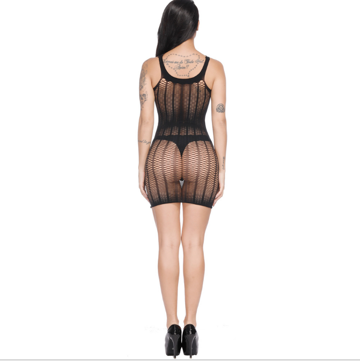Sexy Net Mesh Mini Dress Black MY YF181255-Black