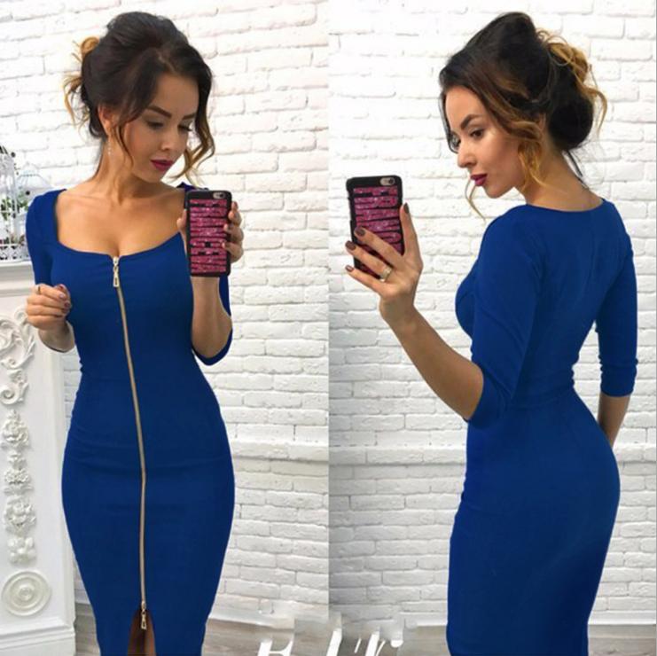 Midi Zipper Dress Blue MY YN1901200-Blue