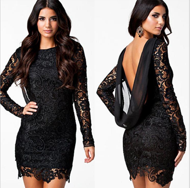 See-Through Lace Dress Black MY YN196274