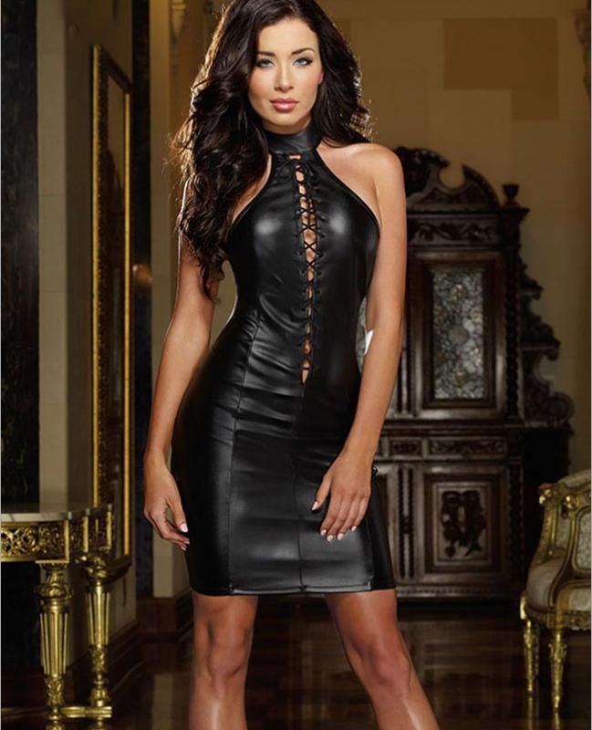 Sexy Leather Dress Black MY YN910280