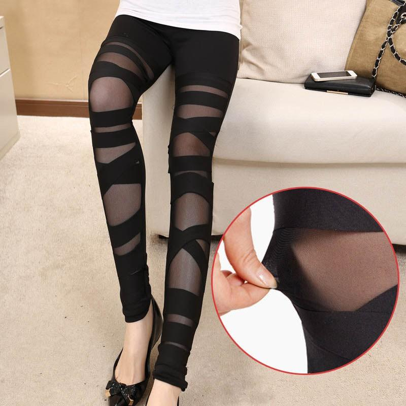 Black Mesh Summer Leggings with Cross Detail MY K015