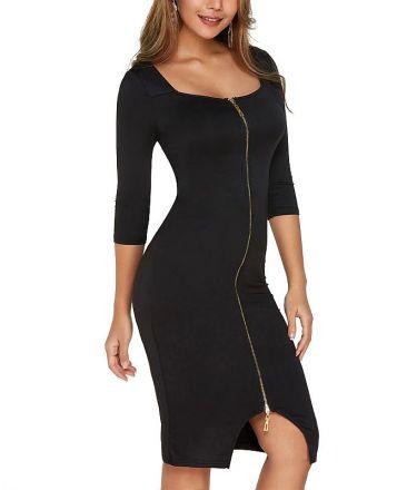 Midi Zipper Dress Black MY YN1901200-Black