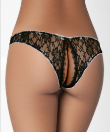 Sexy Lace Open Thong Black MY-26009-Black