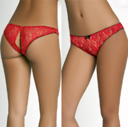 Sexy Lace Open Thong Red MY-26009-Red