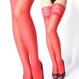 Sheer Lace Top Stockings Red  MY-STK3004-1264-Red