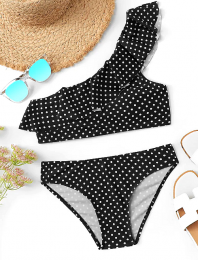 Polka Dots One Shoulder Bikini Black
