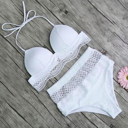 Retro Brazilian Bikini White 103501