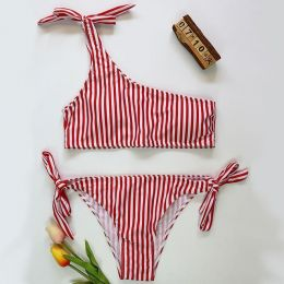 One-Shoulder Bikini Red