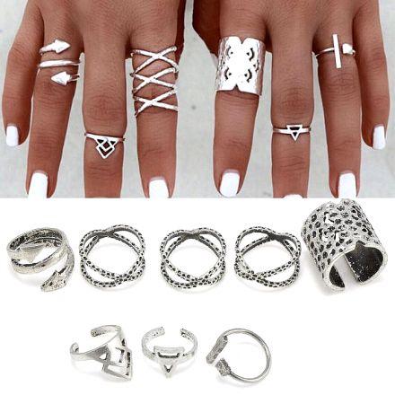 Silver 8pcs Ring 402-1218