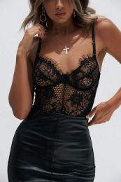Sexy Mesh Teddy with Lace Black 104214-B-MY