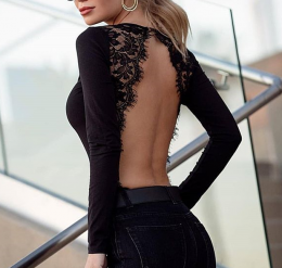 Sexy Long Sleeves Lace Teddy Black 104253