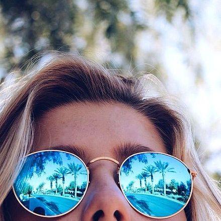 Round Sunglasses Gold-Blue