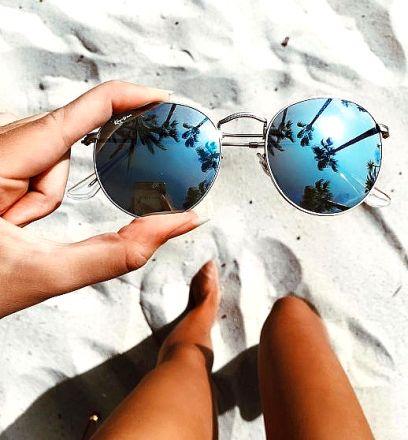 Round Sunglasses Silver-Blue