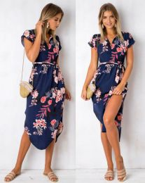Floral Printed Casual Midi Dress Blue 107039-NF