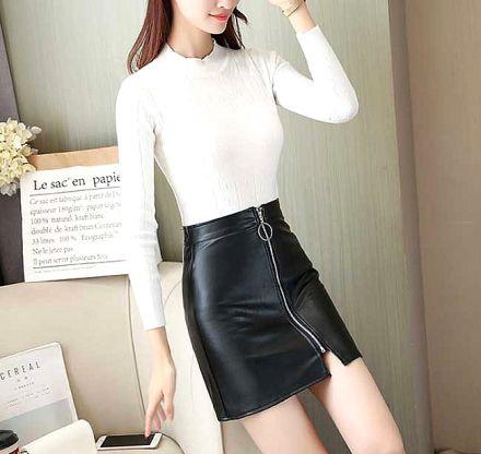 Faux Leather Zipper Skirt Black MY-81019