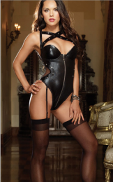 Sexy PVC Leather Teddy Black MY-86290