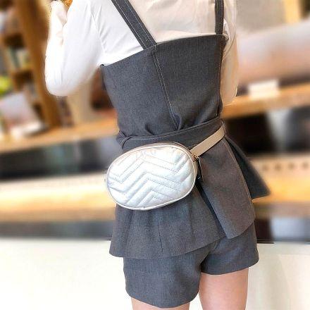 Belt Waist Fanny Bag Silver MY-89106-Silver