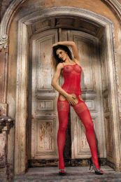 Sexy Floral Lace and Cut Out Garter Bodystocking Red MM96142