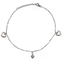 Anklet Chain Hearts and Crystal Ball AB108