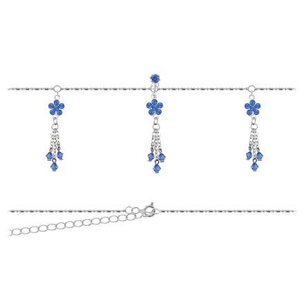 Belly Chain Flower Blue Crystals BBC48